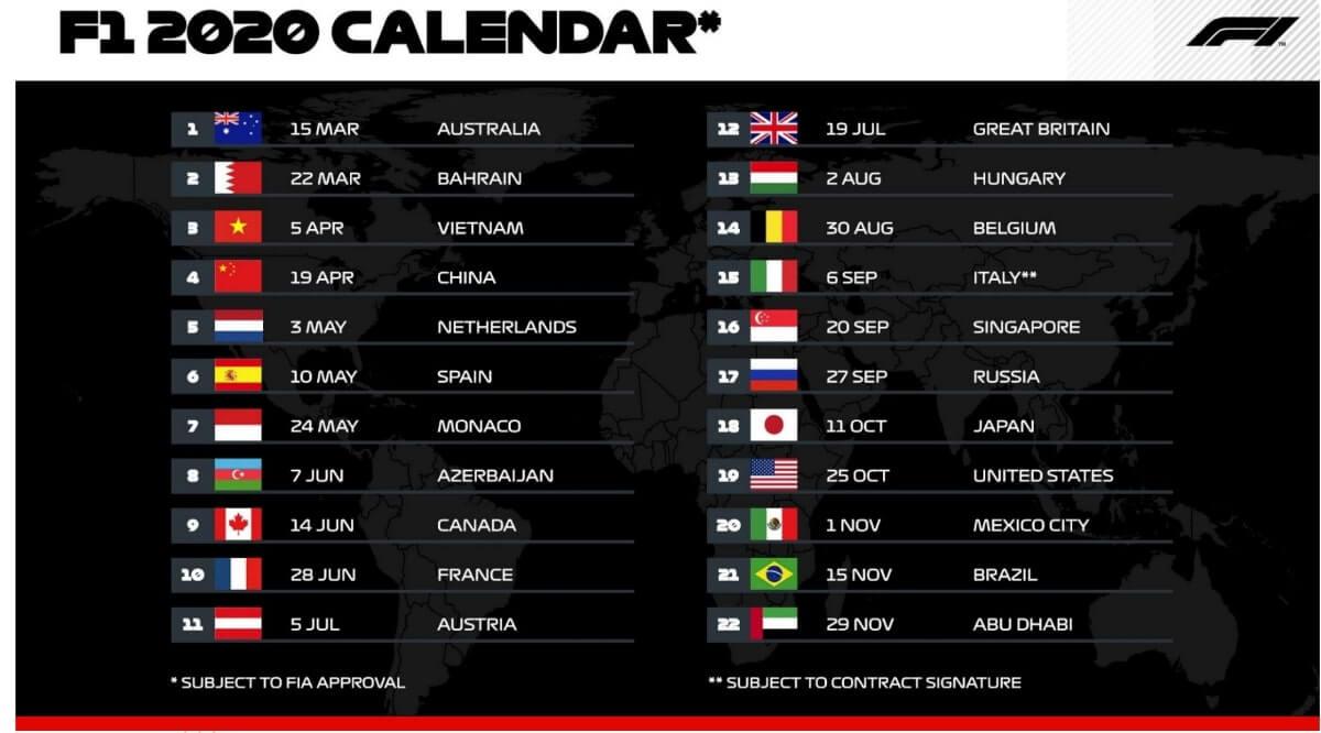 Formula 1 (F1) 2020 calendar