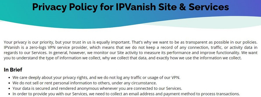 IPVanish Zero Log Policy