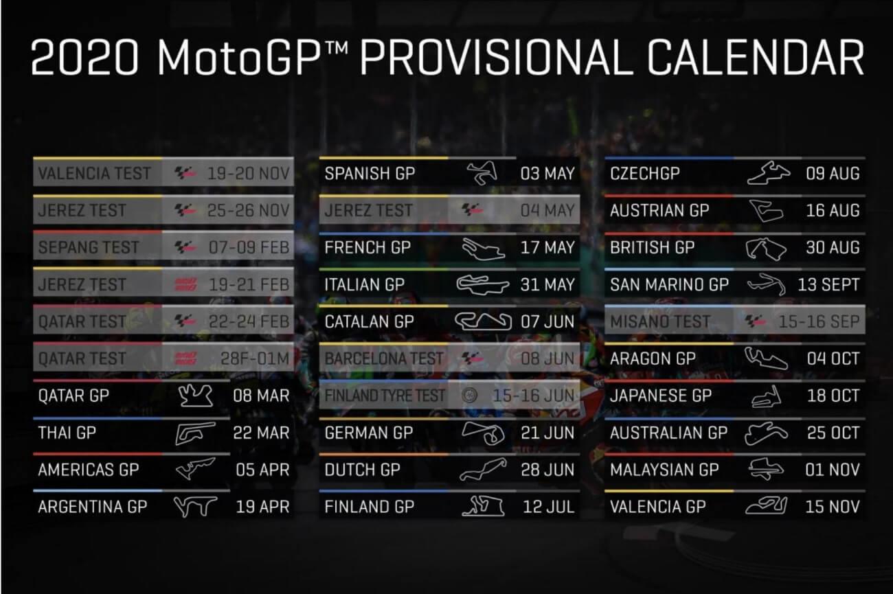 MotoGP 2020 programm, calendar and schedule