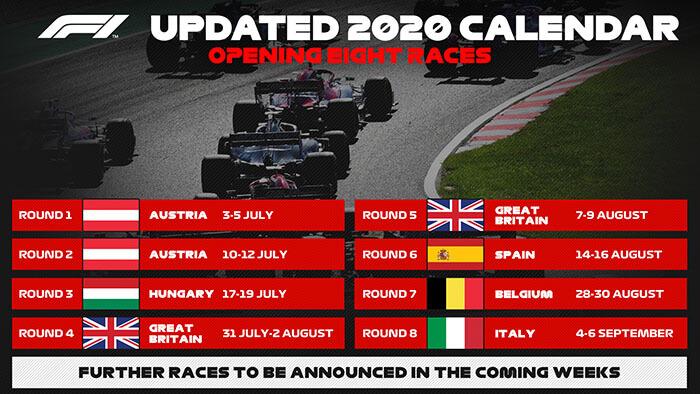 New calendar Formula One