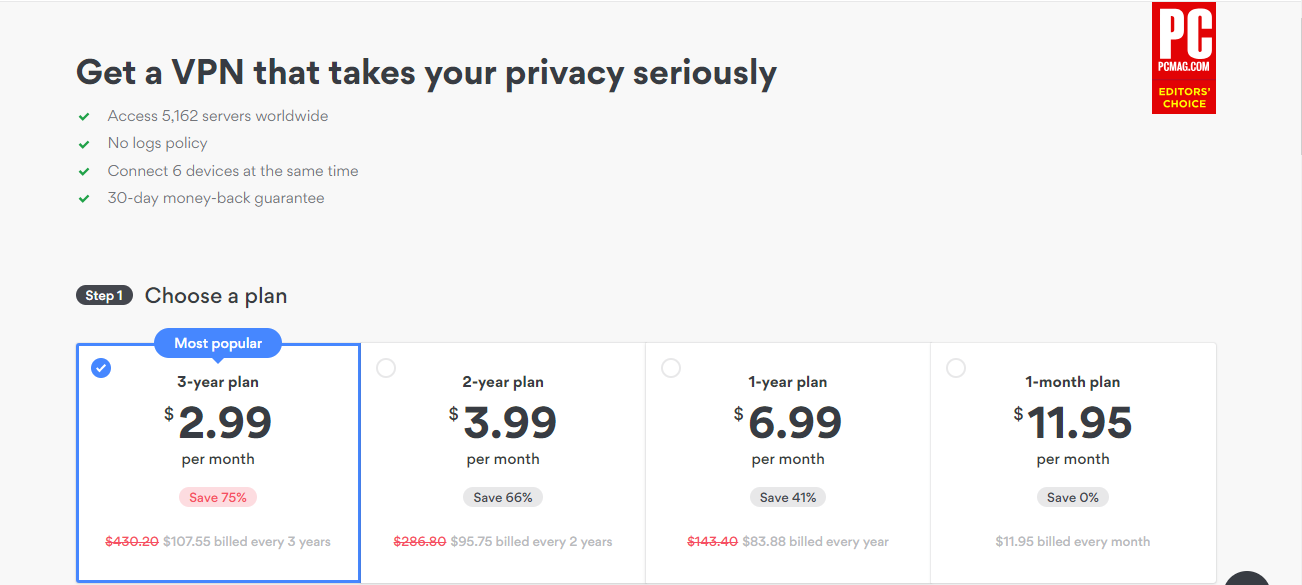 NordVPN's pricing