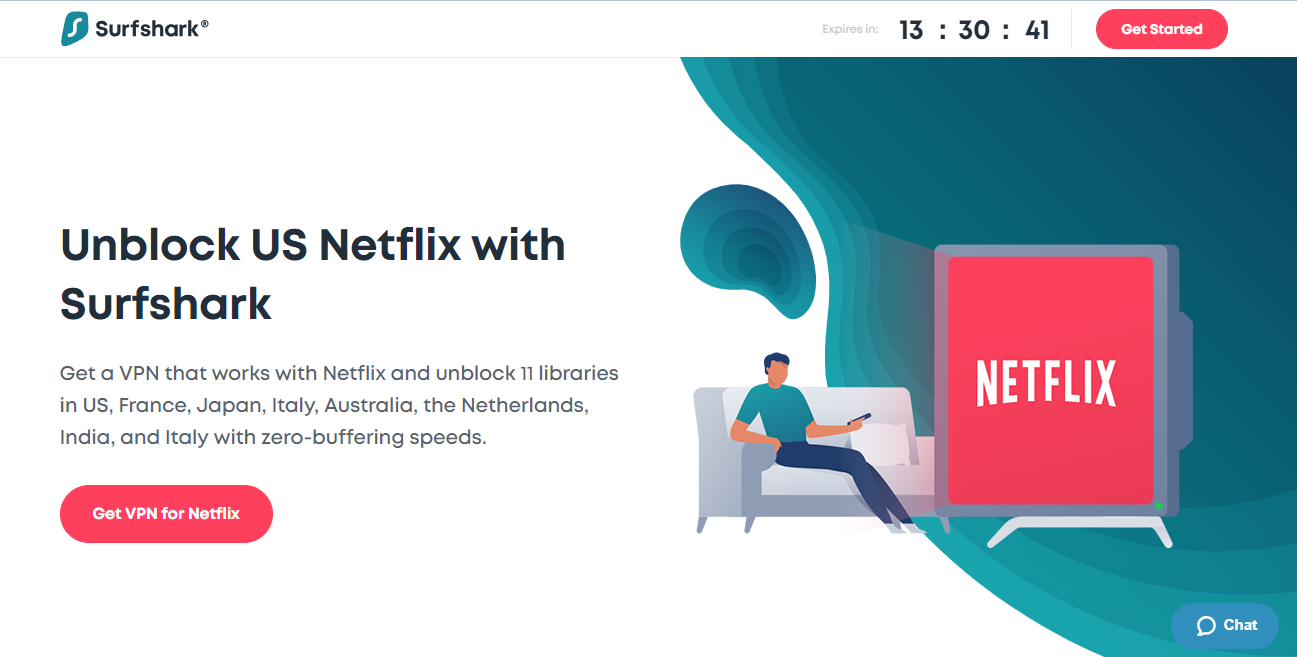 Unblock US Netflix with Surfshark