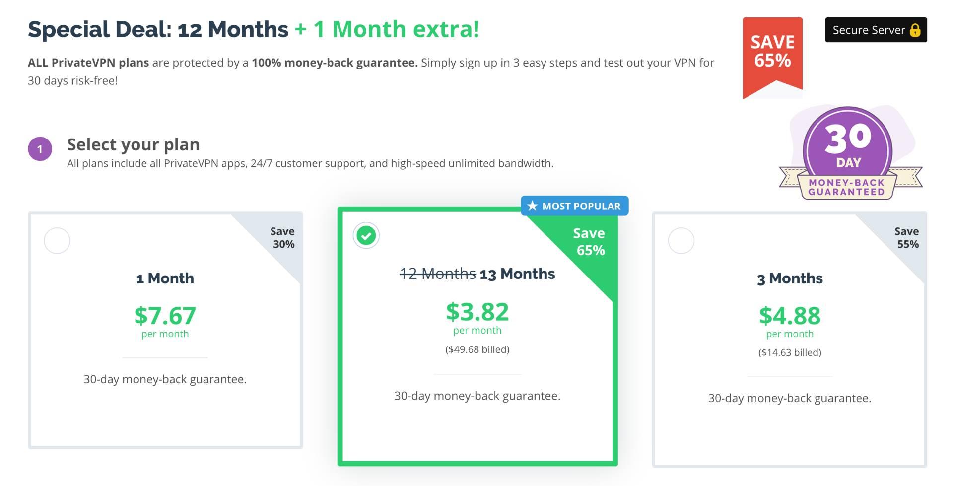 Choose PrivateVPN for its affordability