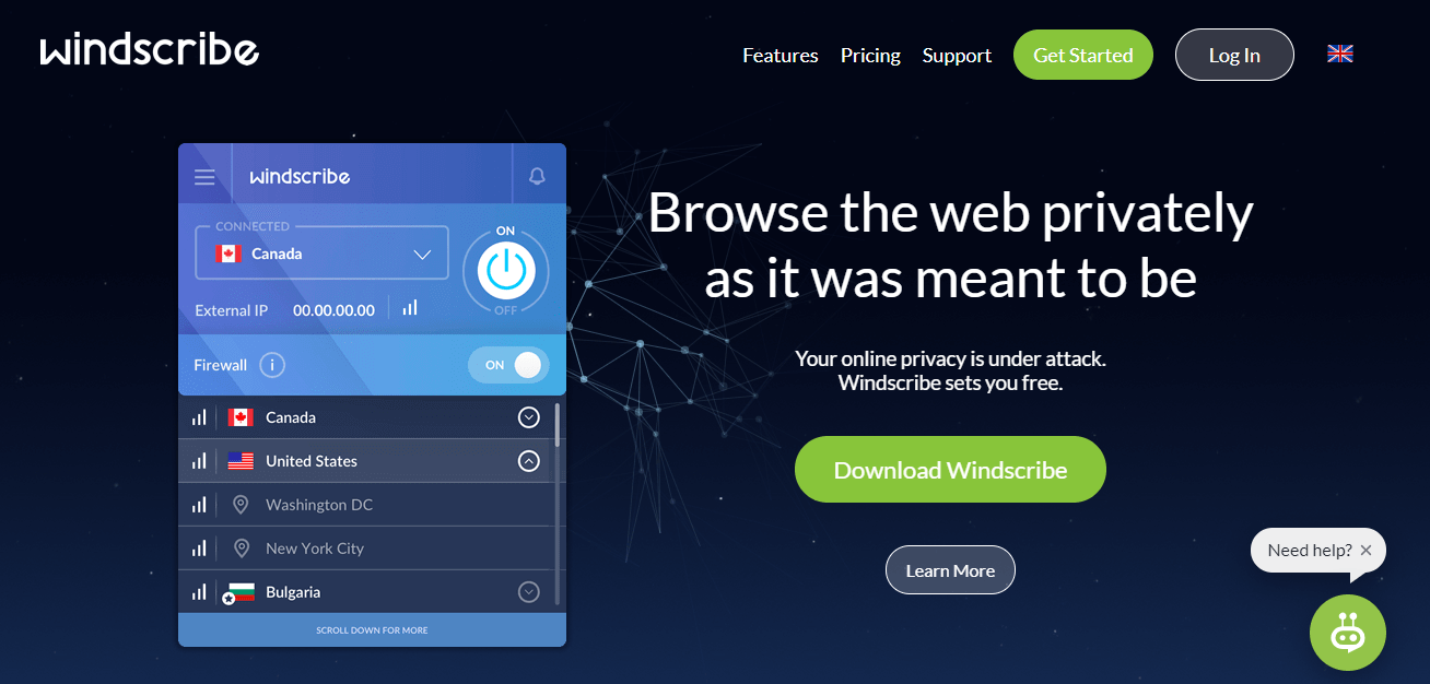 Windscribe free Android VPN