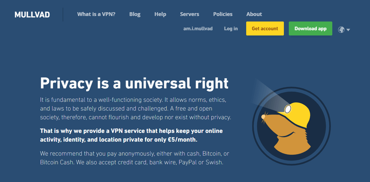 Mullvad VPN privacy policy