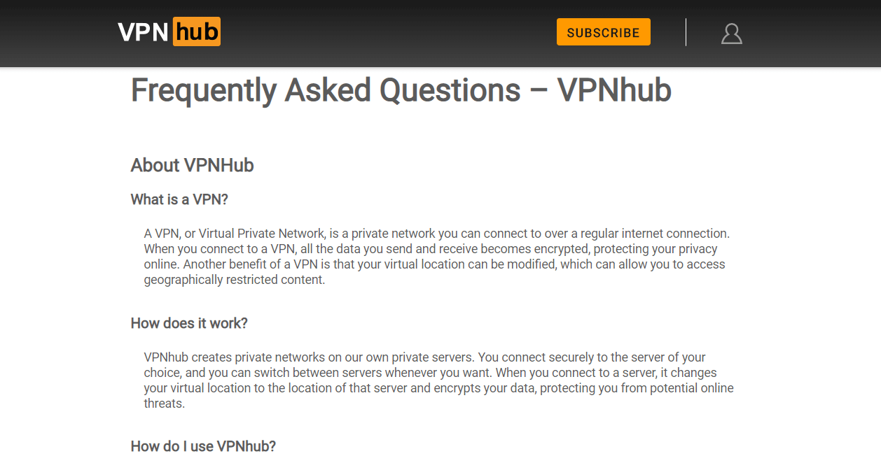 VPNHub FAQs