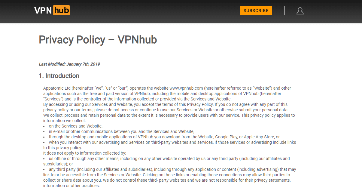 VPNHub privacy policy