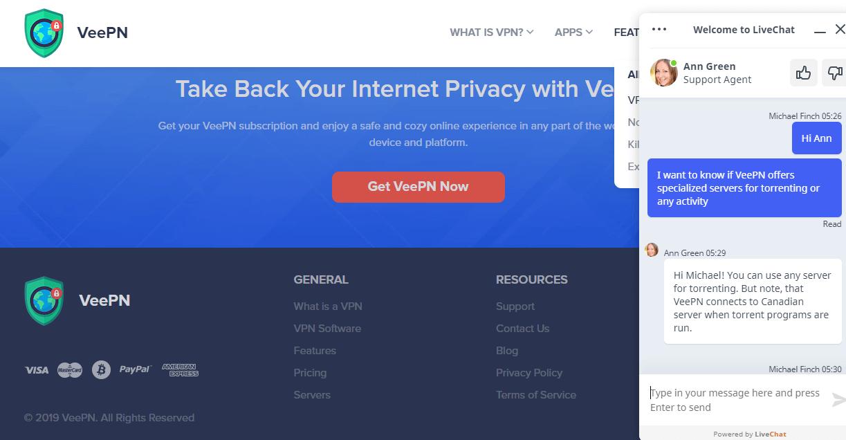 VeePN live chat