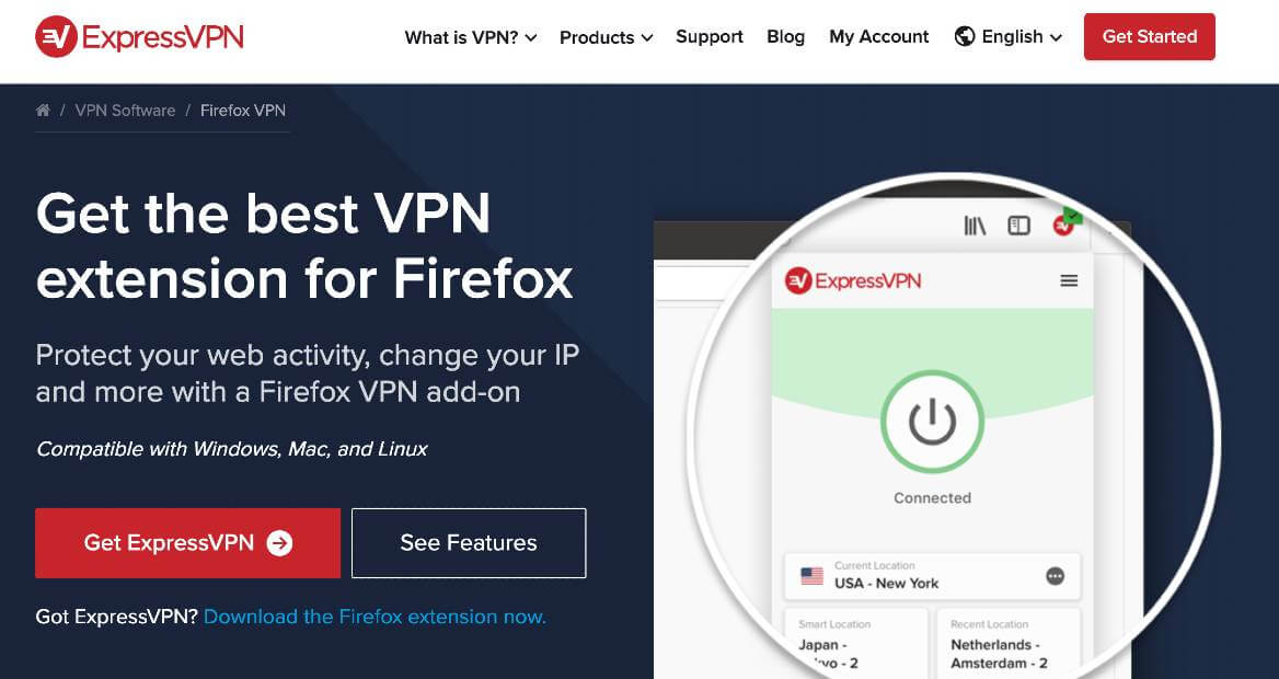 ExpressVPN extension for Firefox