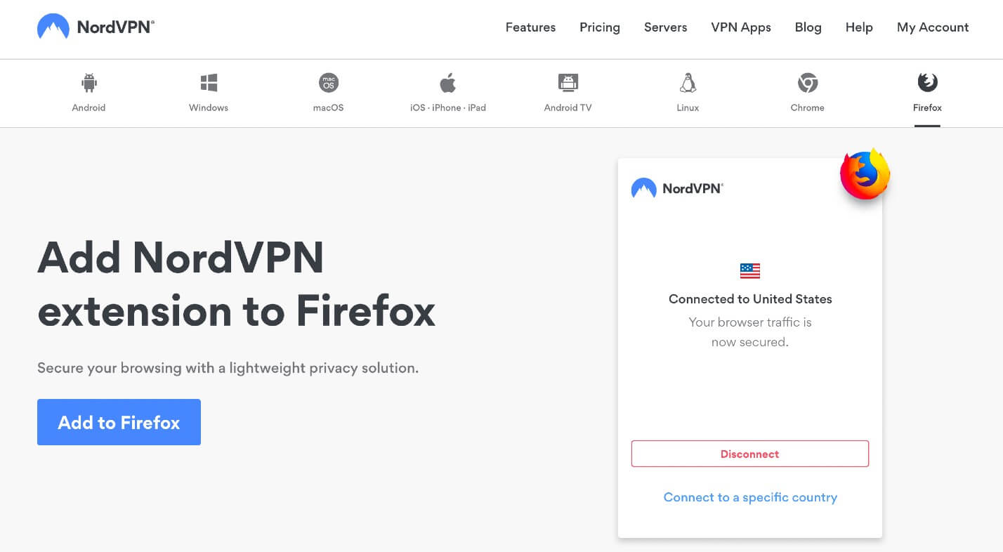 NordVPN extension for Firefox