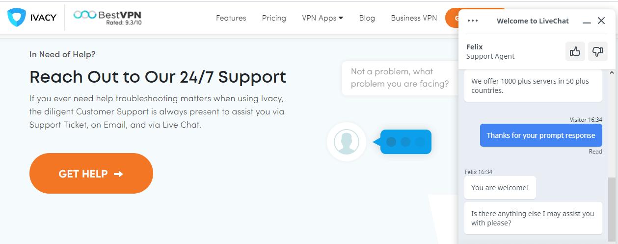 Ivacy VPN live chat