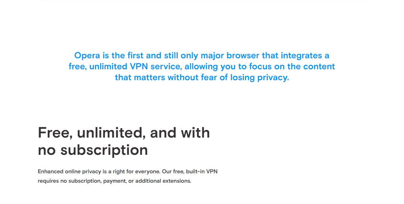 Opera VPN free