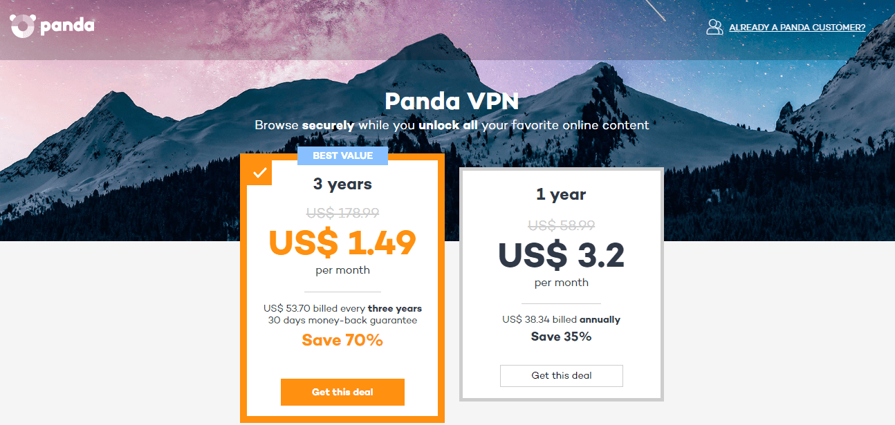 Panda VPN pricing