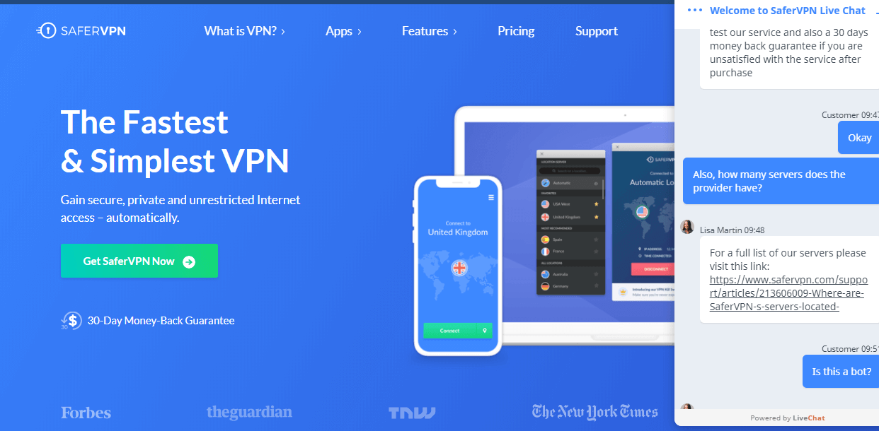 Safer VPN live chat support