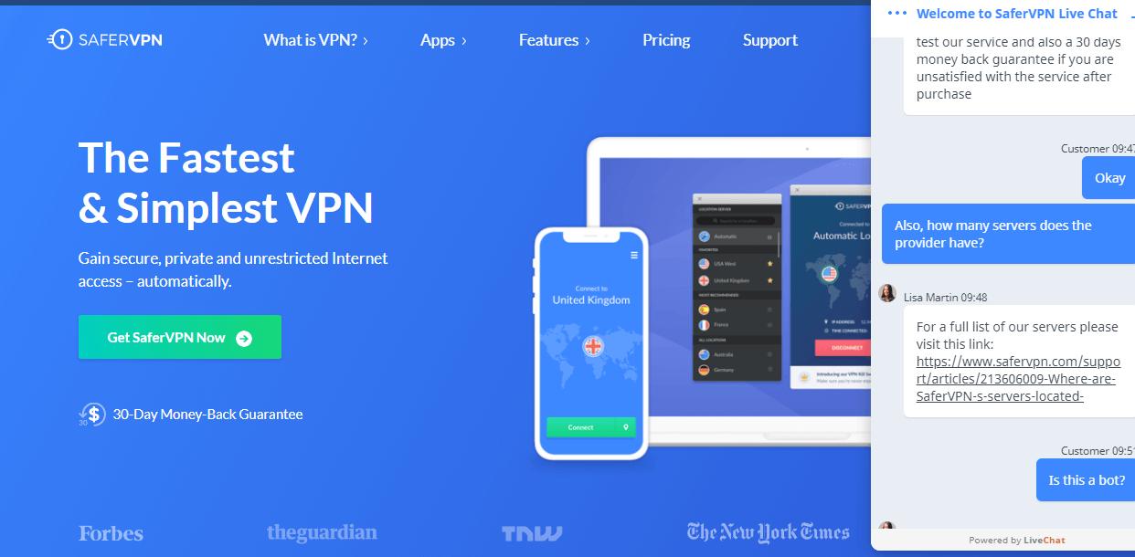 Safer VPN live chat support