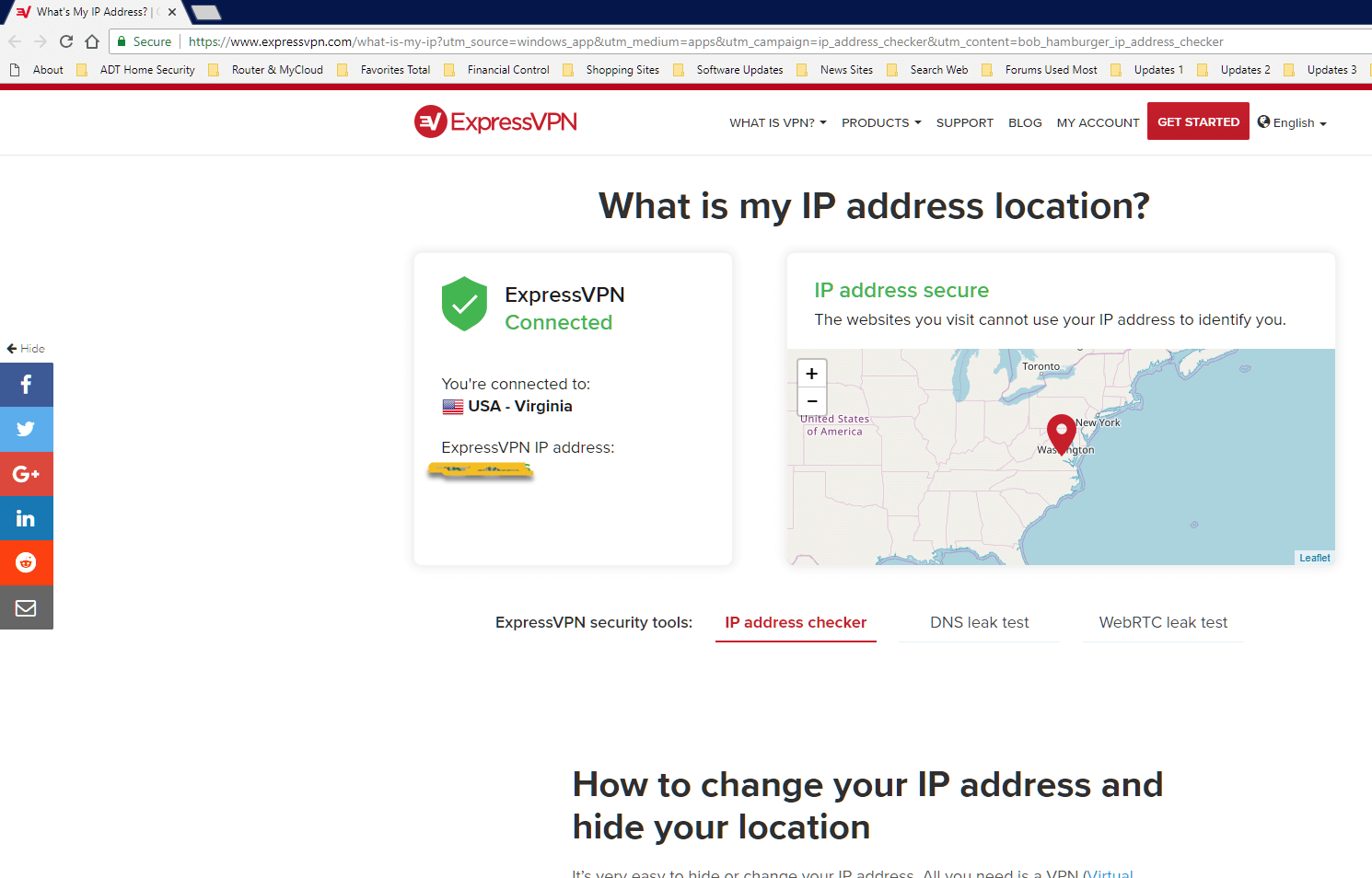 change IP address with ExpressVPN
