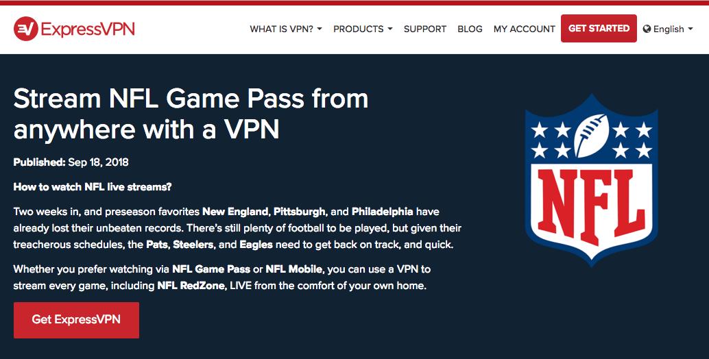 stream NFL free with ExpressVPN