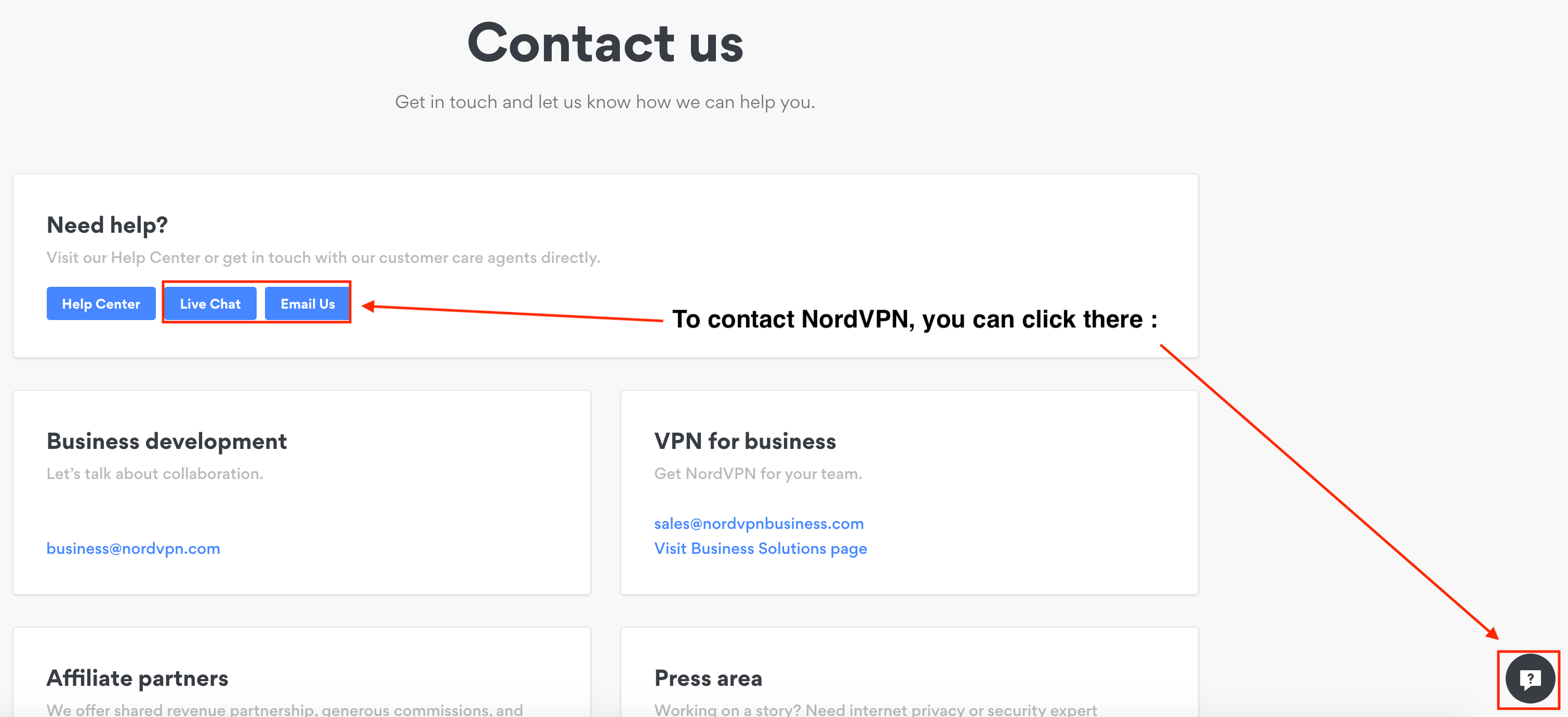 Contact NordVPN for refund