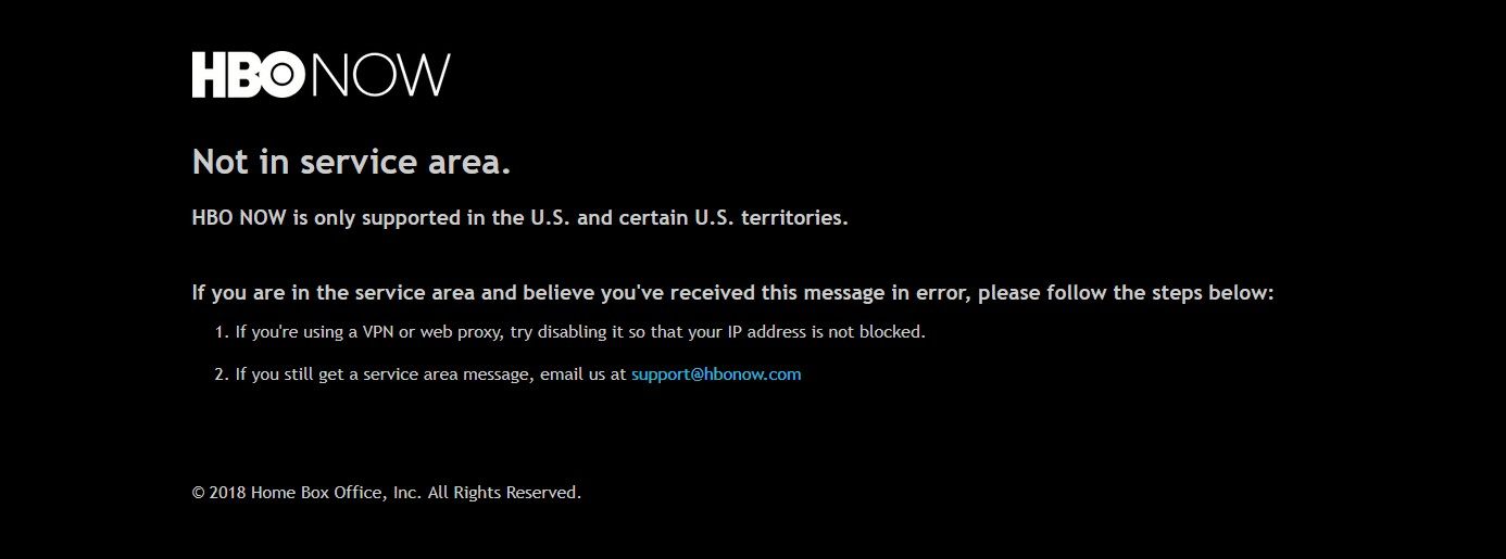 HBO Now restricted access