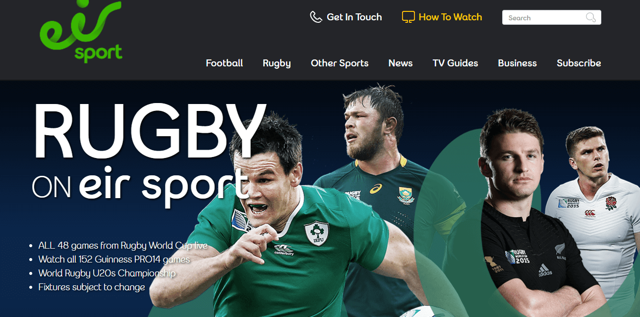 watch the 2020 rugby world cup on Eir Sports