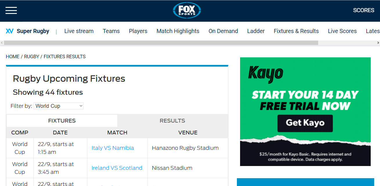 watch the 2020 rugby world cup on Fox Sports
