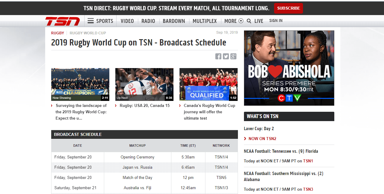 watch the 2020 rugby world cup on TSN