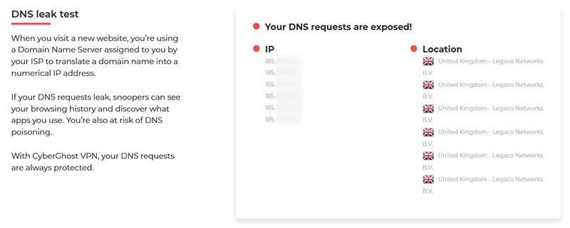 DNS leak test CyberGhost