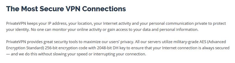 Secure VPN connection PrivateVPN