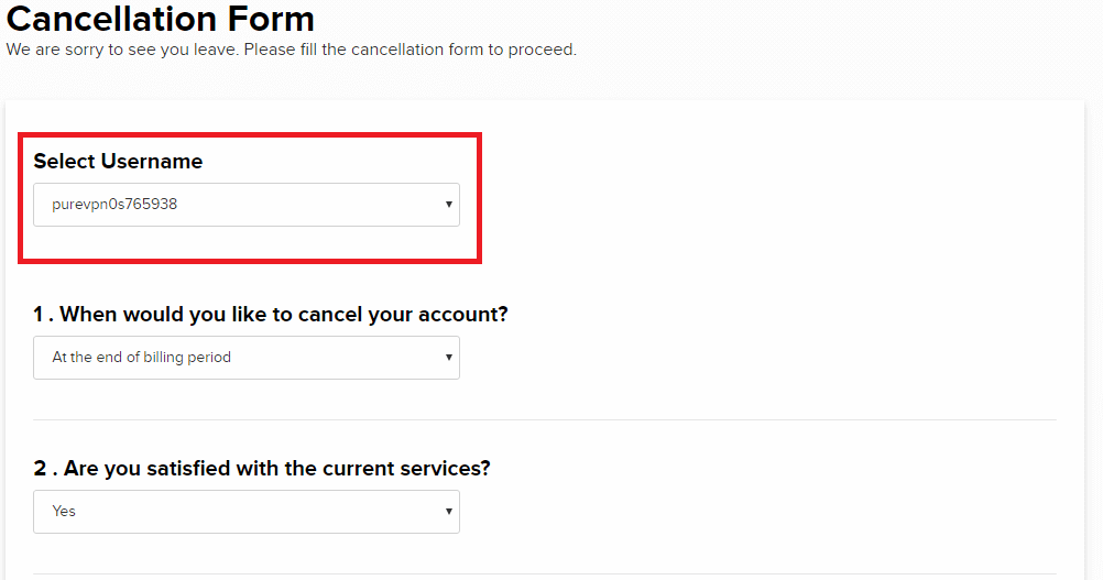PureVPN Cancellation Form
