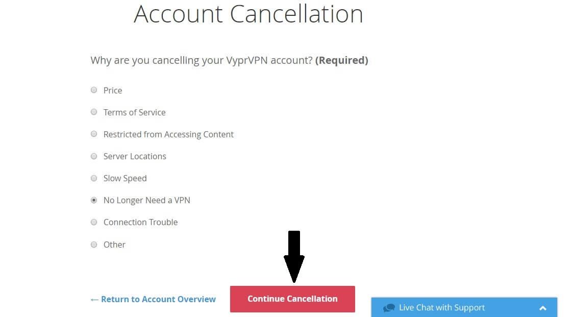 VyprVPN Continue Cancellation
