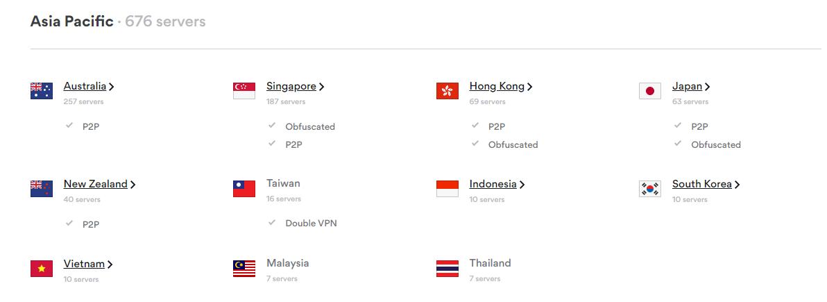 nordvpn asia pasific servers