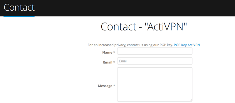 ActiVPN contact form