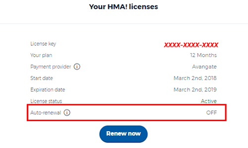 Auto-renewal off HideMyAss
