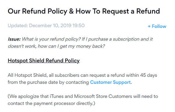 Hotspot Shield refund