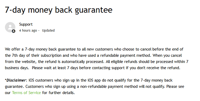IPVanish statement regarding money-back guarantee