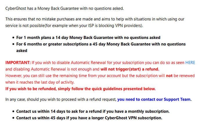 Infos about CyberGhost money-back guarantee