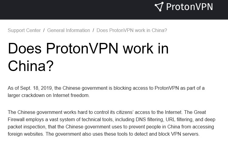 Is ProtonVPN working in China