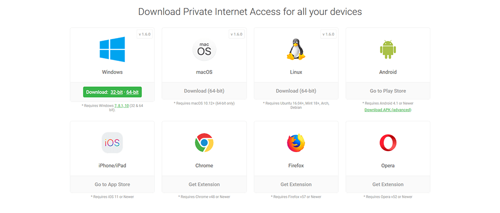 Private Internet Access apps
