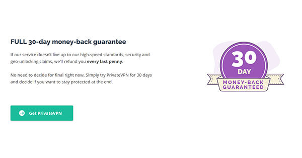 PrivateVPN Money-back guarantee