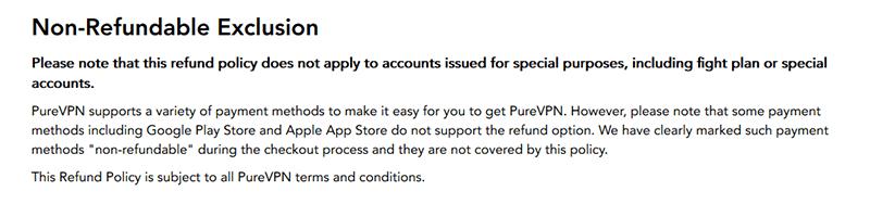 PureVPN refund exclusions