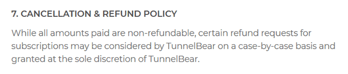 Quote from the TunnelBear terms of service