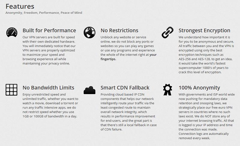 VPNbook features