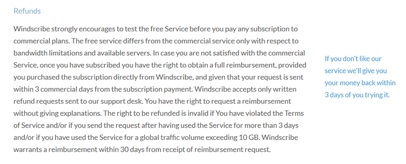 Windscribe TOS
