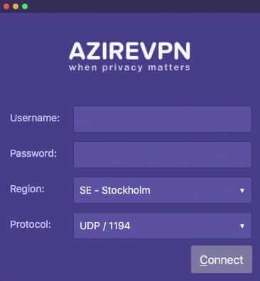 AzireVPN app