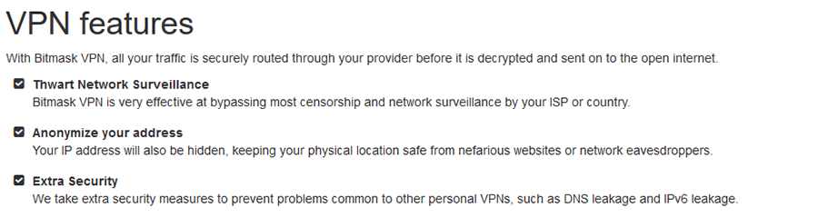 Bitmask VPN features