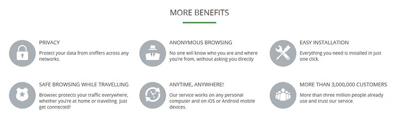Browsec VPN benefits