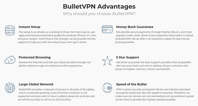 BulletVPN advantages