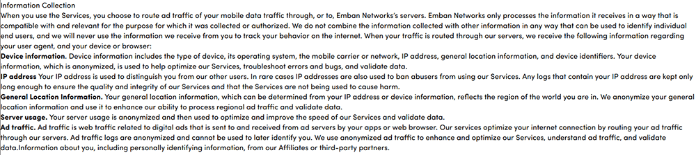 Luna VPN privacy policy