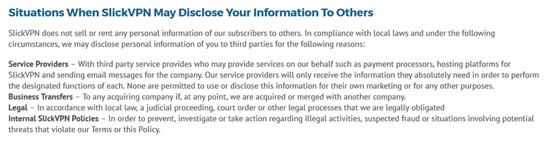 SlickVPN privacy policy
