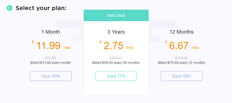 TigerVPN pricing table
